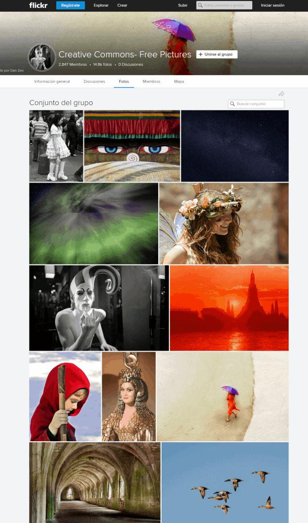muestra del buscador de fotos free