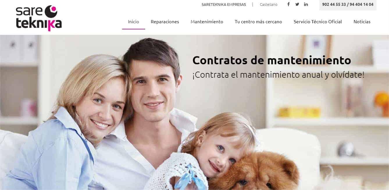 Pantallazo web de Sareteknika